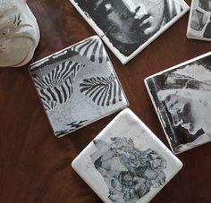 Each year I try to come up with a quick, inexpensive craft-y thing that I can make in quantities to give to co-workers, neighbors, teachers, etc...all of those people who make my day. Last year, it was these coasters made using decopauge to transfer pictures onto marble tiles. They were simple...