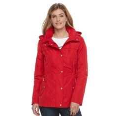Women's Weathercast Hooded Anorak Rain Jacket, Size: Medium, Red, Durable