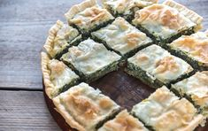Spanakopita - Greek spinach pie by on PhotoDune. Spanakopita ¨C Greek spinach pie on the wooden board Ricotta, Feta, Greek Spinach Pie, Planning Menu, Spanakopita, Salty Foods, Meatless Monday, Antipasto, I Foods