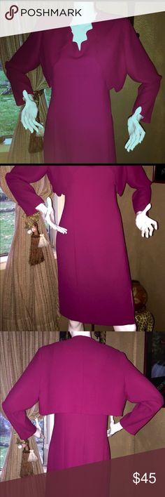 """DONNA B TAYLOR Dress-Suit Dress/Jacket Sz 12 Pink Gorgeous and elegant Formal or Casual Dress-suit by DONNA B. TAYLOR Sleeveless Dress with Long Sleeves Jacket Dress-suit Size 12 in Magenta Pink Color with a very unique design and style V neck with a Long sleeves jacket. Fully Lined dress. Maybe worn once, Flawless and amazing condition. Measurements: The bust is 20"""" from pit to pit (the bust line 18"""" from side to side); the waist is 17"""" from side to side; and the hip is 21"""" from side to…"""