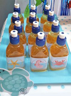 Easy Breezy Parties Fiona A's Birthday / Under the Sea - Photo Gallery at Catch My Party Ariel Party Food, Party Themes, Party Ideas, Sea Photo, Under The Sea Party, Vacation Bible School, Finding Nemo, Hot Sauce Bottles, Mason Jars