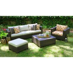 Biscayne Wicker Sectional Seating Patio Furniture Set --5 pieces