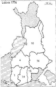 Finnish counties 1776 - Suomen läänit 1776: 1: Turun ja Porin lääni, 4: Vaasan lääni, 10: Oulun lääni, 14: Uudenmaan ja Hämeen lääni, 15: Kymenkartanon lääni, 16: Savon ja Karjalan lääni
