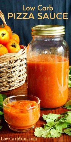 A simple homemade sugar free pizza sauce. This low carb pizza sauce is a great way to use up a late summer crop of tomatoes or frozen skinned tomatoes.   LowCarbYum.com