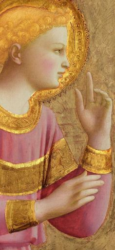 FRA ANGELICO - Archangel Gabriel details in the Annunciation that Fra Angelico painted. The picture expresses the feeling of veneration to the Virgin and its lighting indicates he is a messenger of God. Fra Angelico, I Believe In Angels, Angels Among Us, Guardian Angels, Medieval Art, Italian Renaissance Art, Italian Art, Angel Art, Sacred Art
