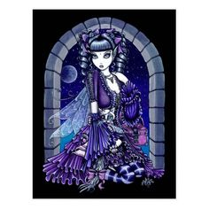 """Shop """"Mia"""" Twilight Moon Fairy & Kitty Postcard created by mykajelina. Personalize it with photos & text or purchase as is! Twilight Moon, Moon Fairy, Unicorns And Mermaids, Fairy Pictures, Gothic Fairy, Fairy Figurines, Goth Art, Punk Art, Illustrations"""
