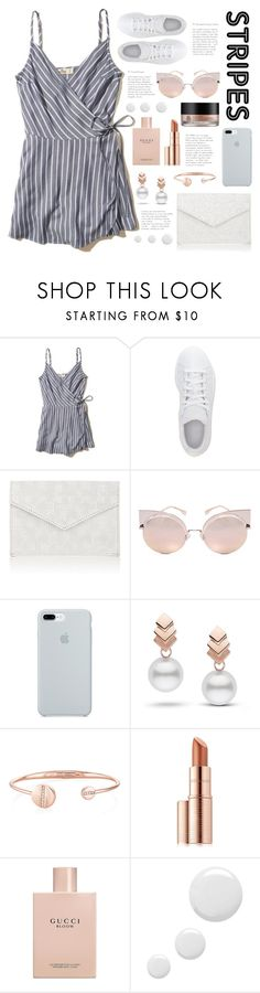 """""""Striped"""" by belleshines ❤ liked on Polyvore featuring Hollister Co., adidas, Barneys New York, Fendi, ETUÍ, Escalier, Estée Lauder, Arbonne, Gucci and Topshop"""