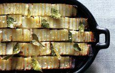 Looks like a fun way to serve roasted potatoes! Easy prep with a mandoline. {Roasted Domino Potatoes - Bon Appétit}