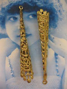 Natural Raw Brass Long Cone shape Filigree by dimestoreemporium, $5.00