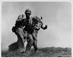 Injured US marines of the 4th Division at the Battle of Iwo Jima during World War Two, Japan, February 20th 1945. (Photo by US Marine Corps/Getty Images)