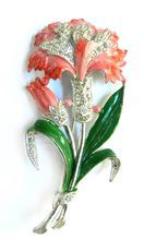 Exquisite Vintage 40s Flower Rhinestone Enamel Trembler Brooch