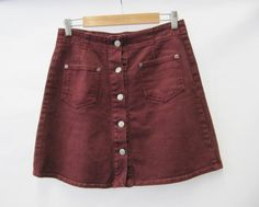 90s Denim Oxblood Red Button Up Skirt by TheGrungeMonkey on Etsy, £22.00