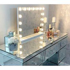 Best Vanity Mirror, Lighted Vanity Mirror, Makeup Mirror With Lights, Vanity Lighting, Light Up Vanity, White Vanity With Lights, Cosmetic Mirror With Light, Vanity Set Up, Vanity Mirrors