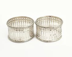 2 antique sterling silver napkin holders, open metal work, beading, Gothic style pattern, England, 1907 by CardCurios on Etsy Vintage High Tea, Napkin Holders, Rose Buds, Gothic Fashion, Pattern Fashion, Link Bracelets, Metal Working, Silver Plate, Beading