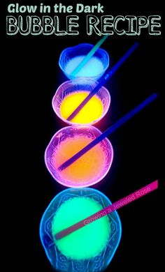 DIY Glow in the Dark Bubbles- great for sensory play, art activities, and more!