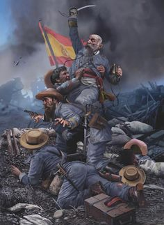 It's easy to learn Spanish if you begin with the basics. Spanish War, The Spanish American War, Spanish Colonial, American Civil War, Military Art, Military History, Ww1 Soldiers, Civil War Photos, Historical Art
