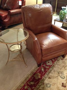 Leather Recliner and Accent Table