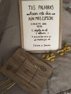 Libro de firmas, Album de fotos, boligrafo de madera y pizarra de madera, pack bodas de TotdeFusta en Etsy