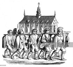 The Goldsmiths of Paris carrying the Shrine of St Genevieve, 17th century, (1870). A wood engraving showing the Corporation of the Goldsmiths carrying the Shrine of St Genevieve (c419-512 AD), patron saint of Paris. Illustration from The Arts of the Middle Ages and at the Period of the Renaissance, by Paul Lacroix, (London, 1870).