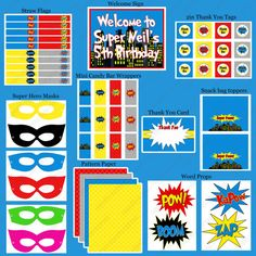 Super hero Printable Birthday Party Package Part 2
