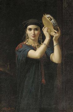 The Tambourine Player, by Emile Charles Lecomte-Vernet (French, 1821-1900)