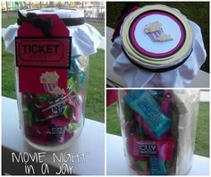Movie Night in a Mason Jar, gift idea.