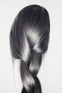 .pencil drawing of woman's long hair