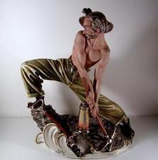 Tiziano Galli Capodimonte Italy MINATORE Coal Miner Semi Nude Man Sculpture