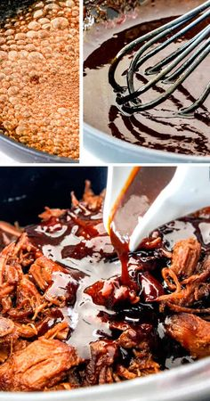 showing how to make caramel sauce for pulled pork in skillet then pouring it over pulled pork