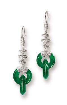 Jadeite Jade, Diamond and 18K White Gold Earrings
