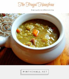 Split Pea Soup - this is just the best split pea soup, ever! Why can\'t hams come with MORE bones! The vegetables are lightly caramelized for the best flavor, ever!