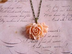 Sweetest Rose In Bloom Necklace by missbohemia on Etsy, $14.50- pretty!