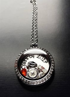 Class of 2017 Graduation Floating Locket Necklace-Personalize