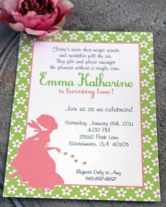 Girls Flower Fairy Printable Invitation Package. $29.99, via Etsy.