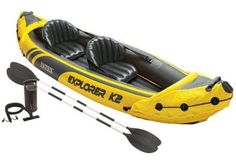 Part Number: MPN Intex Explorer Kayak Inflatable Set with Oars and Air Pump, Yellow. This kayak includes 2 aluminum oars and an Intex high output air pump for easy inflation and deflation. Inflatable Fishing Kayak, Best Fishing Kayak, Inflatable Boats, Kayaking Tips, Whitewater Kayaking, 2 Person Kayak, Kayaks For Sale, Fishing Boots, Camping Gifts