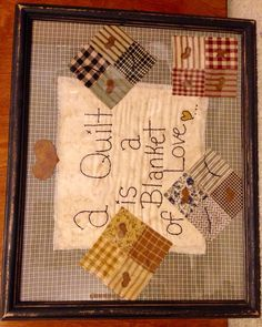 Primitive picture made by Cindy's Primitives Primitive Embroidery, Primitive Quilts, Primitive Stitchery, Primitive Patterns, Primitive Pillows, Vintage Embroidery, Doll Quilt, Rag Quilt, Quilt Blocks