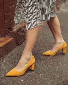 73acf3b838da8 Dalena Yellow Suede Block Heel