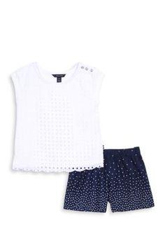 Nautica Girls' Eyelet Top And Poplin Shorts 2-Piece Set Girls 7-16 - Sail White - 10