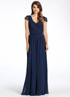 Indigo chiffon A-line bridesmaid gown, V-neckline neckline, cap sleeve, natural waist with gathered skirt