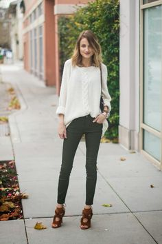 Oversized sweater / olive leather pants / fringe suede heels