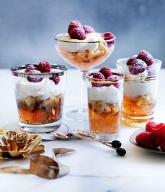 Moscato, raspberry and panettone trifles recipe | Gourmet Traveller