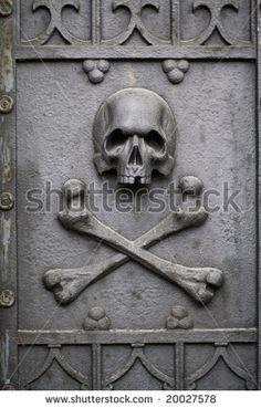 Door with a skull.