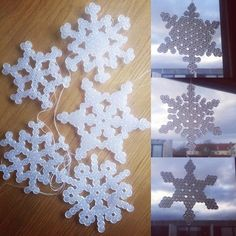 Snowflakes hama beads by  kathrine_p