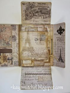 Fabri-K-tions by Kay B Mitchell: French Collection Folio Mini Albums, Mini Scrapbook Albums, French Collection, Glue Book, Origami, Textiles, Memory Books, Book Journal, Smash Book