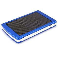 Amazon.es: SODIAL(R) Dual Power Panel Solar USB cargador de bateria externo movil 10000mAh Banco de la energia - Azul - Electrónica