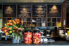 restaurant, design, flower, black, yellow, green, white, red,