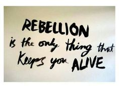 Rebellion. if I didn't their would be nothing to live for