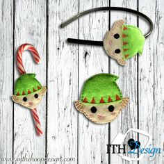 Free elf slider embroidery design for headbands or candy canes!