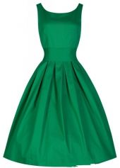 Pleated Green Round Neck A Line Dress on sale only US$22.47 now, buy cheap Pleated Green Round Neck A Line Dress at lulugal.com