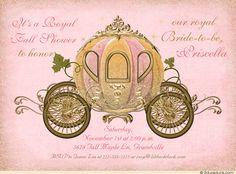 Pink & Gold Princess Bride Shower Invitations